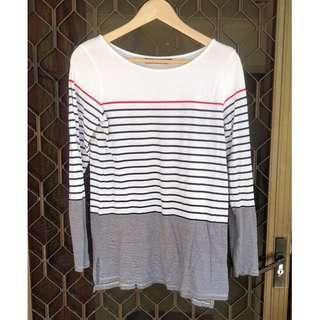 SPORTSGIRL Striped Long Sleeve Top Blue White Red Bardot Kookai
