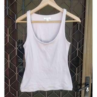KOOKAI Marble Tank Top Beige Cotton Singlet Shirt Scoop Neck Bardot Cue