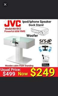 JVC Wood Cabinet Floor standing Speaker Docking station for iPod/iphone(30 pin) with Built-in subwoofer .  Model: NX-BX3. Usual Price: $499. Special Offer:$ 249 + Free home delivery. ( Item is brand new in box and sealed )  includes Free Home Delivery