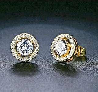 Gold Plated Diamond Earrings