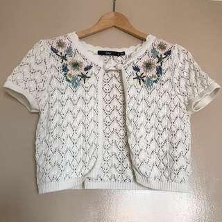 Crochet Embroidery Crop Cardigan #PRECNY60