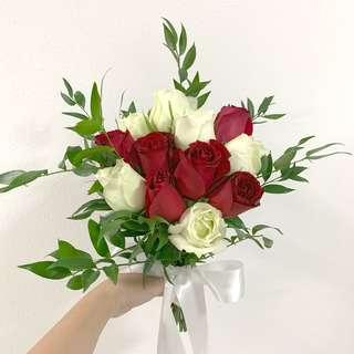 Bridal Bouquet Greens with Red Rose White Rose