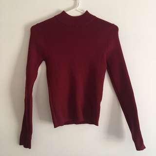 Wine red mock neck sweater