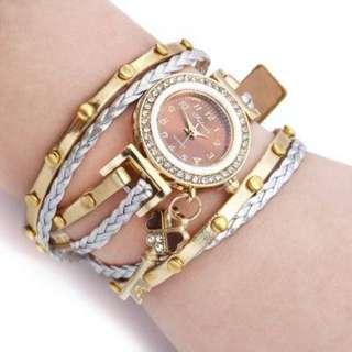 Female Quartz Rhinestone Bangle Wristwatch
