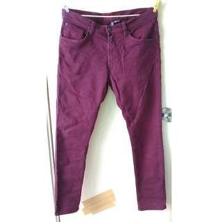 H & M 棗紅色中腰skinny fit 32腰牛仔褲