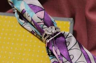 April Birthstone Diamond Ring Sterling Silver