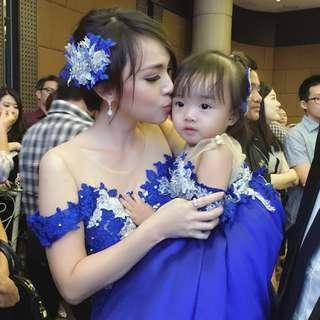Gaun pesta formal couple ibu dan anak warna electric blue