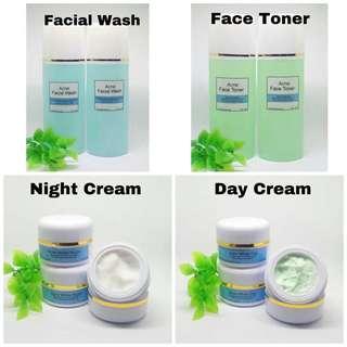 PAKET ACNE CREAM   Acne White Night Cream   Acne White Day Cream   Acne Facial Wash   Acne Face Toner / Cream Jerawat / Obat Jerawat