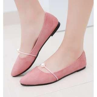 Ready stock Korean College Student Flat Shoes Pearl Cover #precny60