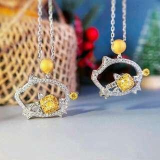 Piggy Design Yellow Diamond Pendant (Chain/nacklance not icluded)