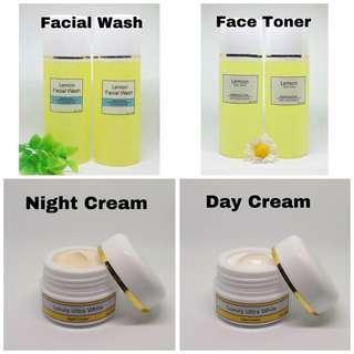 PAKET LUXURY ULTRA WHITE   Luxury Ultra White Night Cream   Luxury Ultra White Day Cream   Lemon Lime Facial Wash + Vitamin C   Lemon Face Toner / whitening cream / pemutih wajah