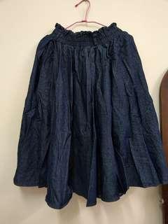 日本 retro girl 牛仔裙 含牛仔皮帶