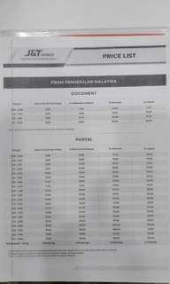 Postage Charges By J & T delivery