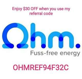 Use my OHM referral code get $30 OFF