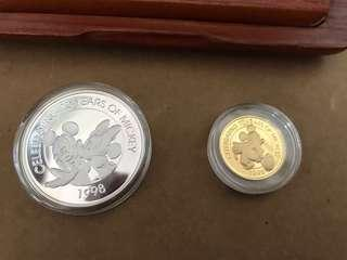 1998 Celebrating 70 Years of Mickey Disney gold and Silver Proof collection