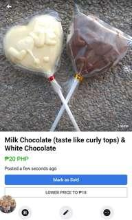 Milk Chocolate (taste like curly tops) & White Chocolate