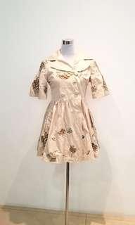 beige embroidered blazer dress