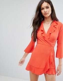ASOS Burnt Orange Wrap Dress
