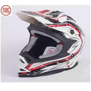 ★INSTOCK SIZE L ONLY★ Torc ★ Full Face Motorcycle Helmet ★ Motocross ★ Scrambler ★ Offroad ★ Dirt Bike ★ White★ Sandstorm★ Motorbike ★ Removable sponge for cleaning ★ New arrivals ★Hurry while stock lasts