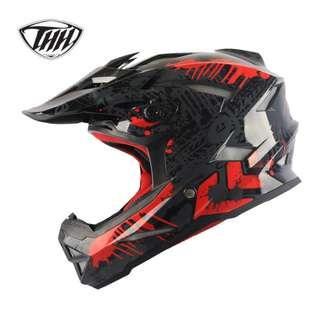 ★INSTOCK SIZE L ONLY★ THH ★ Full Face Motorcycle Helmet ★ Motocross  ★ Scrambler ★ Offroad ★ accessories ★ Dirt Bike ★ Glossy Black Red ★ motorbike ★ matte ★ New arrivals ★