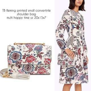 TB fleming printed small convertinle shoulder bag multi happy time sz 20x15x7