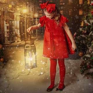 🚚 全新! 韓國童裝潮牌airfish超美正紅色氣質絲絨面料滾邊裝飾洋裝小禮服(110cm)