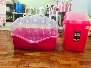 😻Bundle Sale! (pink Trashcan and plate organizer)