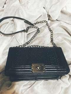 Leather crossbody bag snakeskin print new in black