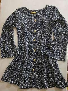 Blue floral mini dress with bell sleeves