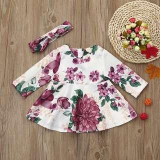 Restocked Floral Baby Romper Dress set
