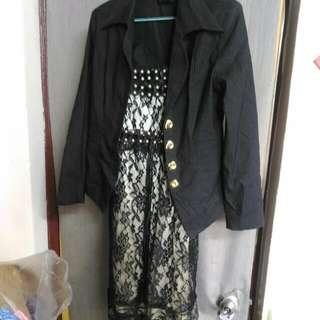 M~小L可米白黑色蕾絲珠珠細肩帶傘裙洋裝 韓版風格+ 線條金釦西裝彈性外套 搭1套