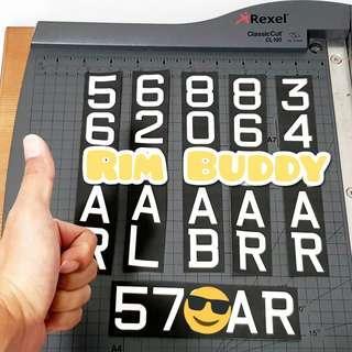 Batch 17/01/19 Rim Buddy LTA approved font registration stickers for scooters ( DYU, Fiido, Tempo, AM, Dualtron, Speedway, Inokim, Xiaomi)
