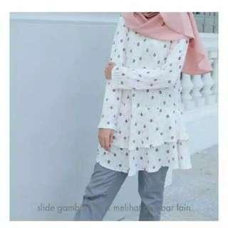 Wajik Mulberry Pleats Vanilla Hijab