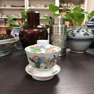民國粉彩花卉蟈蟈圖三才碗#345,9*9cm左右,品相基本完整
