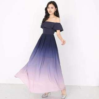 🚚 Preorder Ombre Series Off Shoulder Maxi Dress