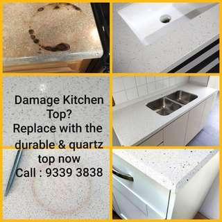 Damaged kitchen countertop? Replace with our durable and low maintenance quartz top now. Call 9339 3838