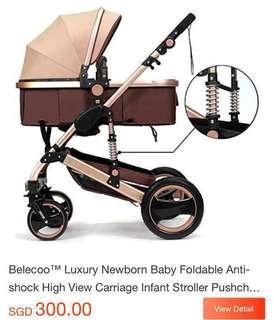 Belecoo™ Luxury Newborn Baby Foldable Anti-shock High View Carriage Infant Stroller Pushchair Pram
