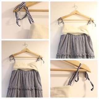 *$160即買*日本 franche lippee 海軍藍格仔蝴蝶結吊帶連身裙 可當半截長裙 two way 日本製