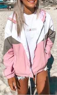 Pink/white wind runner