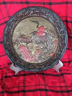 Wooden carved plate 12inches diameter with wooden stand at offer price