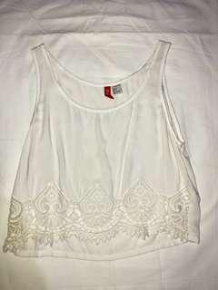 H&M Sheer White Top with Lace Detailing