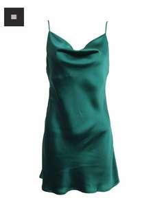 Forest Green Silk Cowl Neck Dress