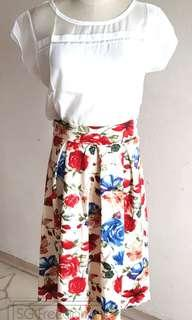 🚚 Floral Skirt & Chiffon White Top (Please read description for prices)