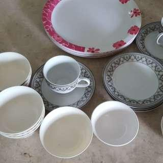Plates bowls cups etc
