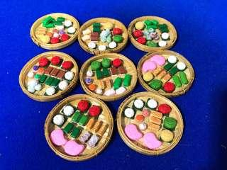 Handmade Miniature Nonya Cake combo on bamboo tray (clay)