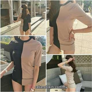 2 pcs swimsuit with sleeve