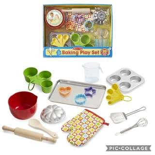 *Brand New* Melissa & Doug Baking Ultimate Stainless Steel and Solid Wooden Play Food Set Toy (Best Gift for Holiday, Birthday and Christmas) Cupcakes Baking Kitchen 20 pieces food-grade, dishwasher-safe baking tools