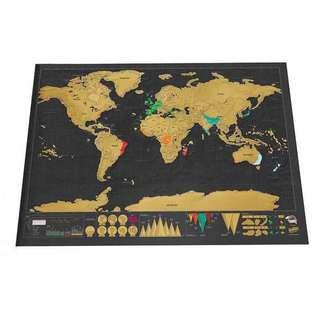 LARGE!!! World Scratch Map Travel Map w/ protective tube 83cmx60cm