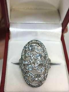 Silver 925 Ring with Topaz. Size 15 half