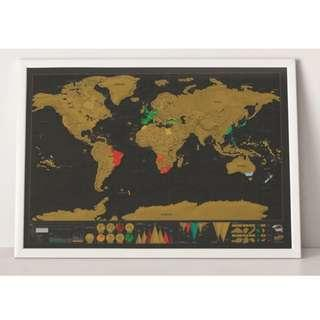 Mini World Scratch Map With Tube 42*30cm